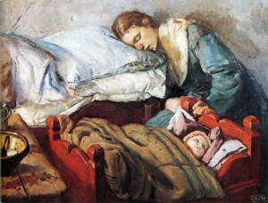 Sleeping mother with child- Krohg