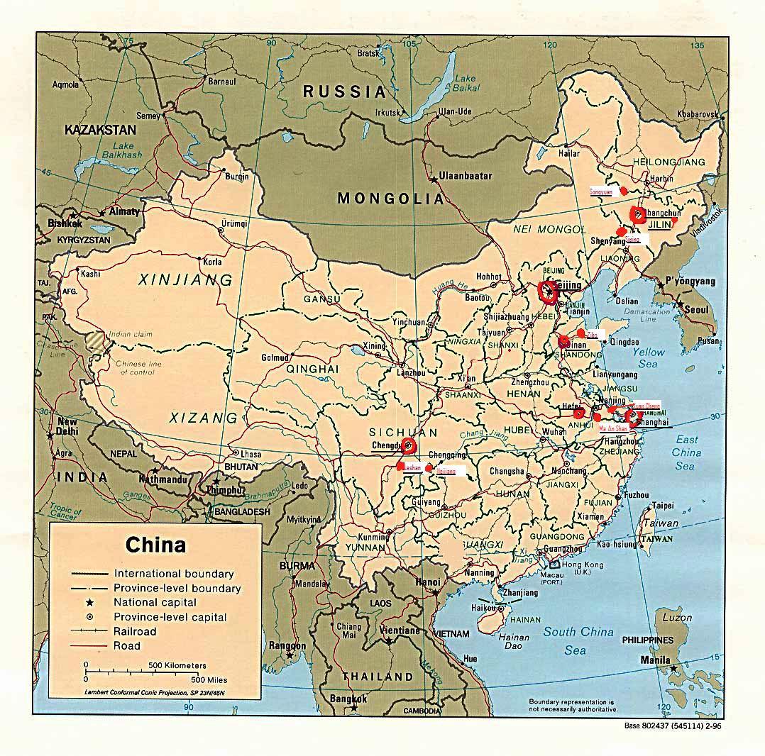 Harta Locaţiilor Povestirii China Decembrie 2009 Ianuarie 2010